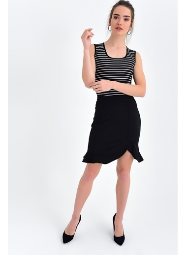 Jument Kolsuz Eteği Kiloş Elbise  Siyah